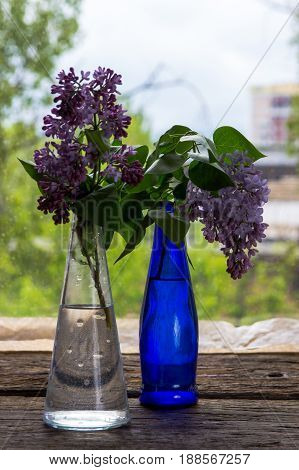 Lilac Flowers In Vase On The Wooden Window Sill