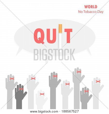 Human hands and Quit Tobacco sign.World no tobacco day.No Smoking Day Awareness.Vector illustration.