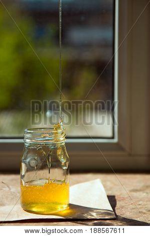 Organic Pure Honey In Jar On Window Sill. Stream Of Honey