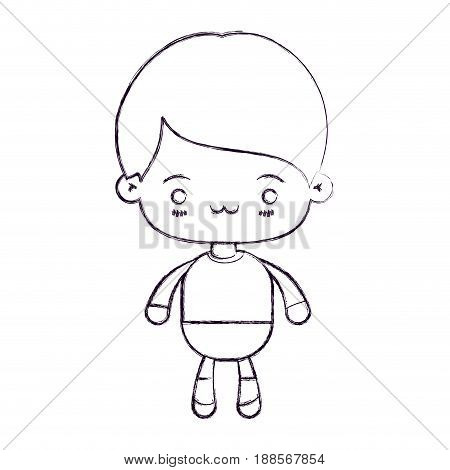 blurred thin silhouette of kawaii little boy with facial expression exhausted vector illustration