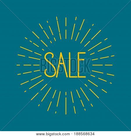 Card sale with starburst. Blue retro banner sunburst. Vector illustration.