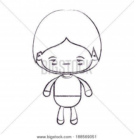 blurred thin silhouette of kawaii little boy with facial expression nervous vector illustration