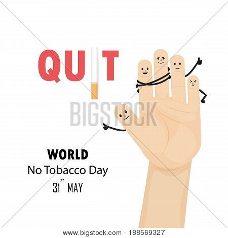 Quit Tobacco sign.World no tobacco day.No Smoking Day Awareness.Vector illustration.