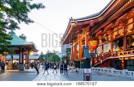 Tokyo Japan - May 4 2017: Tourist are traveling into Sensoji Shrine main building.