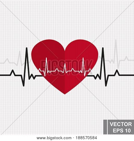 Heart rhythm. Cardiogram. Isolated on white background. Icon.