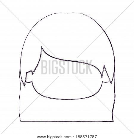 blurred thin silhouette of faceless head of little girl with straight hair vector illustration