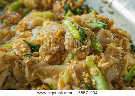 Fired Thin Noodles In Sweet Soy Sauce With Pork, Thai Food Style