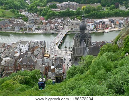 Cable Cars Rising to the Citadel of Dinant with Breathtaking Landscape in the Background, Dinant, Wallonia, Belgium