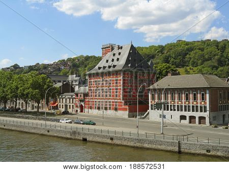 Impressive Buildings on the Waterfront of Meuse River at Liege, Wallonia Region, Belgium