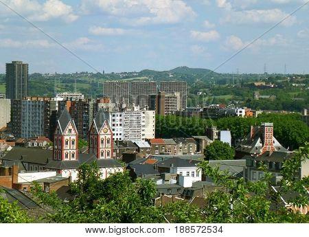 Beautiful Cityscape of Liege View from the Bueren Mountain, Wallonia Region, Belgium
