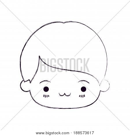 blurred thin silhouette of kawaii head of little boy with facial expression exhausted vector illustration