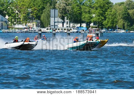 BERLIN GERMANY - MAY 03 2014: Demonstration rides on speedboats. 2nd Berlin water sports festival in Gruenau