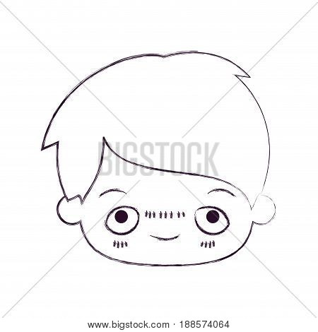 blurred thin silhouette of kawaii head of little boy with embarrassed facial expression vector illustration