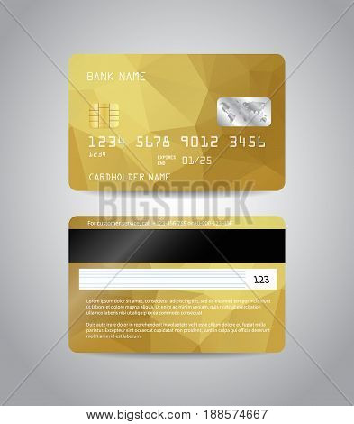 Realistic detailed credit cards set with colorful gold abstract triangular design background. Golden card. Front and back side template. Money, payment symbol. Vector illustration EPS10