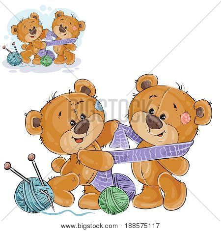 Vector illustration of a brown teddy bear tie a knitted scarf on the neck of another teddy bear, handicrafts. Print, template, design element