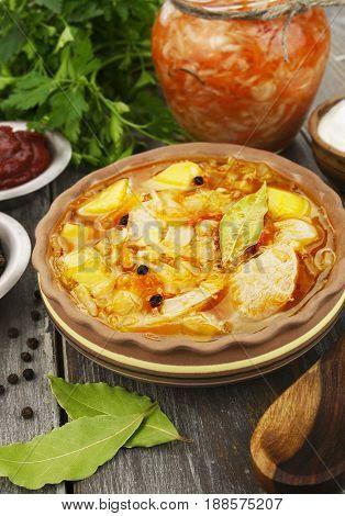 Traditional Shchi With Sauerkraut