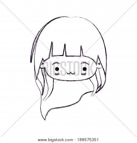 blurred thin silhouette of kawaii head little girl with long hair and facial expression exhausted vector illustration
