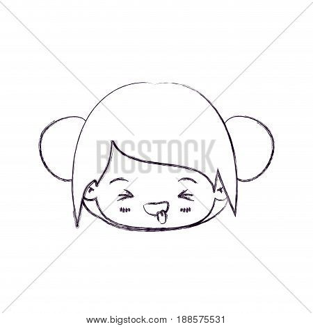 blurred thin silhouette of kawaii head little girl with collected hair and facial expression unpleasant vector illustration