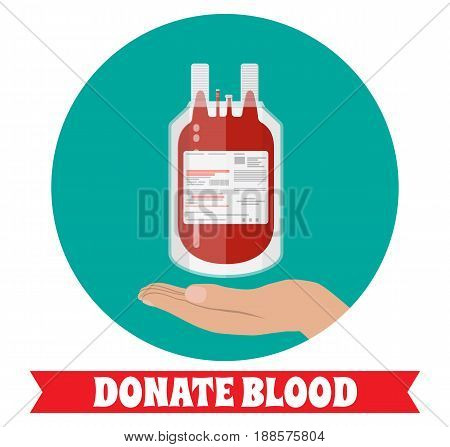 Blood bag and hand of donor. Blood donation day concept. Human donates blood. Vector illustration in flat style.