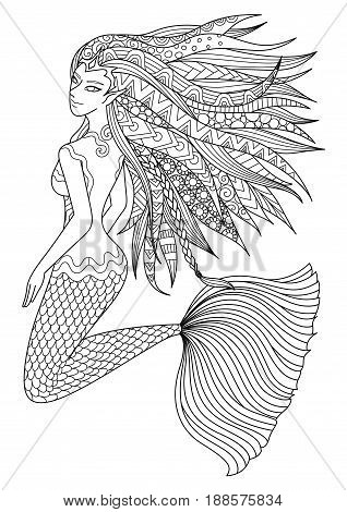 Beautiful mermaid swimming in the ocean design for adult coloring book page. Vector illustration