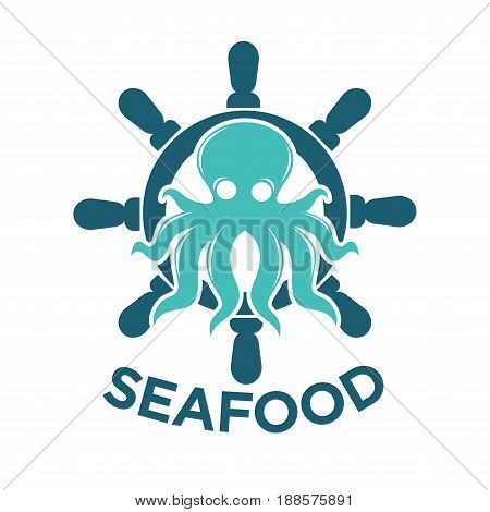 Fresh seafood delivery promotional logotype with turquoise cartoon glossy octopus, big blue wooden steering wheel behind and thick sign underneath isolated vector illustration on white background.