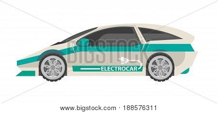 Modern electrocar with turquoise stripes, tinted windows, sign on side and plug drawing same shape as racing car isolated on white background. Ecologically safe automobile vector illustration.