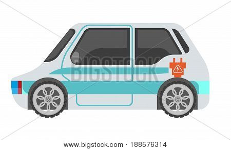 Electrocar isolated on white in light color with blue stripes and orange plug sign. Vector illustration in flat design of fast mean of transportation refueling using electric power. Eco charging way