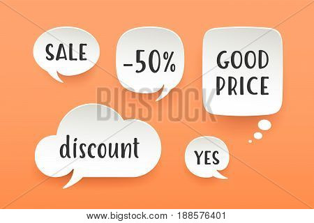 Set of paper bubble cloud talk with shadow. White paper isolated cloud talk silhouette with text Sale, Discount, -50 percent. Design elements for speech, message, social network. Vector Illustration