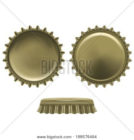 Realistic Detailed Metal Cap from a Beer Bottle Alcohol Drink Front and Back View. Vector illustration