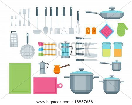 Cartoon Cookware Color Icons Set for Home and Restaurant Flat Style Design. Vector illustration