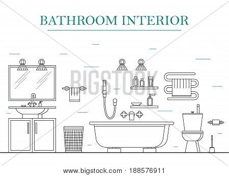 Interior Classic Bathroom with Furniture. Basic Room of Home. Thin Line Design Style. Vector illustration