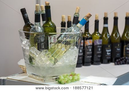 CRACOW POLAND - NOVEMBER 17 2016: International Wine Trade Fair ENOEXPO in Cracow .Producers of wine from all around the world meet the importers distributors and representatives. Cracow. Poland