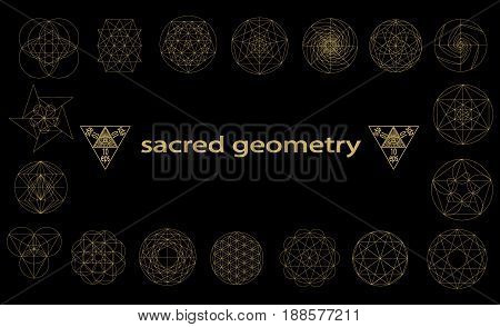 Set sacred geometry abstract elements vector set isolated on black background