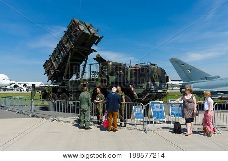 BERLIN GERMANY - MAY 21 2014: The MIM-104 Patriot is a surface-to-air missile (SAM) system. German Air Force. Exhibition ILA Berlin Air Show 2014