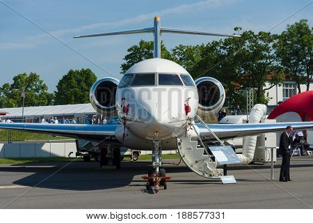 BERLIN GERMANY - MAY 21 2014: Business jet Bombardier Global 5000. Exhibition ILA Berlin Air Show 2014