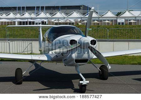 BERLIN GERMANY - MAY 21 2014: Airplane Diamond DA40 Tundra Star. Exhibition ILA Berlin Air Show 2014