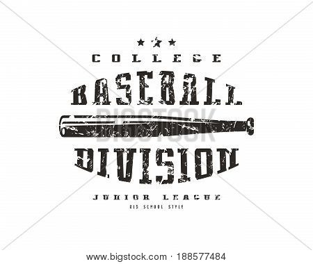 Emblem Baseball Division. Graphic Design For T-shirt