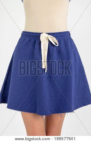 Closeup shot of woman wearing trendy fashion skirt