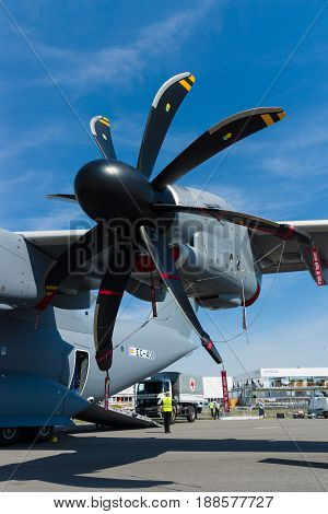 BERLIN GERMANY - MAY 21 2014: Turboprop engine Europrop TP400-D6 military transport aircraft Airbus A400M Atlas. Exhibition ILA Berlin Air Show 2014