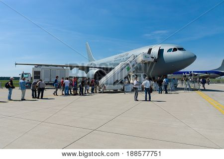 BERLIN GERMANY - MAY 21 2014: Airbus A310 Multi Role Tanker Transport (MRTT). German Air Force. Exhibition ILA Berlin Air Show 2014