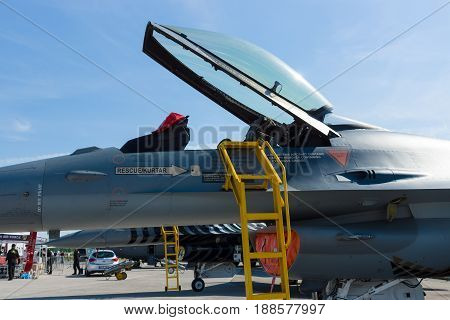 BERLIN GERMANY - MAY 21 2014: Cockpit Lockheed Martin F-16 Turkish Air Force. Exhibition ILA Berlin Air Show 2014