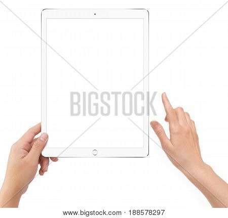 Isolated Human Left Hand Holding White Tablet Computer