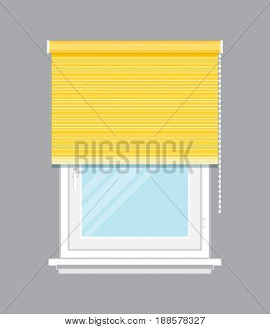 Window with yellow jalousie isolated vector illustration. Architectural detail, window treatment, creative home interior object, building element in flat style