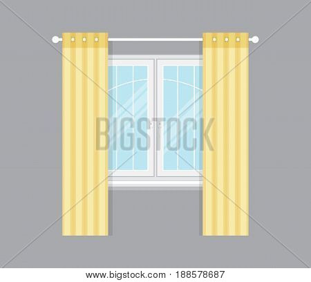 Modern drapery window isolated vector illustration. Architectural detail, window treatment, creative home interior object, building element in flat style