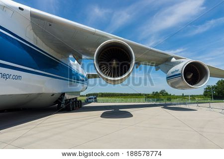 BERLIN GERMANY - MAY 21 2014: Turbojets Ivchenko Progress D-18T of a jet aircraft Antonov An-124 Ruslan. Exhibition ILA Berlin Air Show 2014