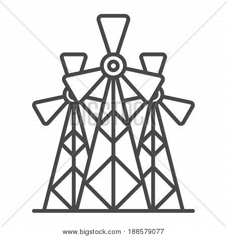 Wind energy plant linear icon isolated on white background vector illustration. Modern technology, alternative energy generation pictogram.