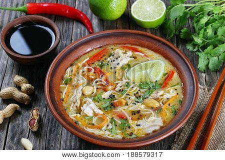 Asian Chicken Noodle Soup  In Clay Bowl