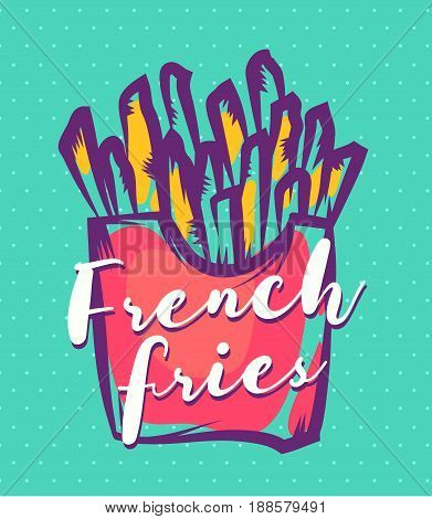 Vector hand drawn french fries poster or card. Cute vintage Vector stock illustrations. french fries background. Template for design.