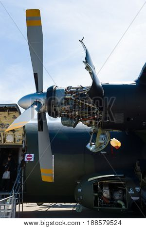 BERLIN GERMANY - MAY 21 2014: Turboprop engine Rolls-Royce Tyne Rty.20 Mk 22 aircraft of a Transall C-160. German Air Force. Exhibition ILA Berlin Air Show 2014
