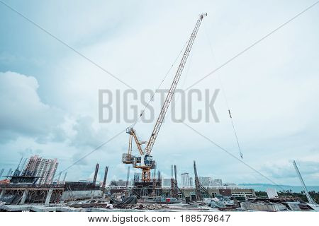 Site construction on the buildings with crane